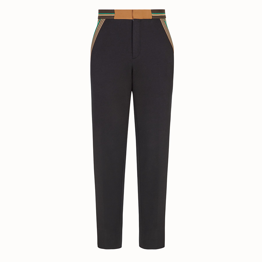 FENDI TROUSERS - Black cotton jersey trousers - view 1 detail