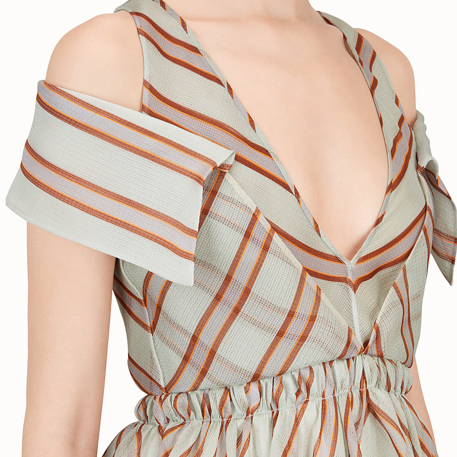 FENDI DRESS - Light green silk gauze dress - view 3 detail