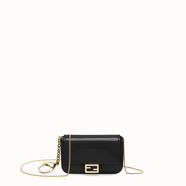 FENDI NANO BAGUETTE - Black patent leather charm - view 1 small thumbnail