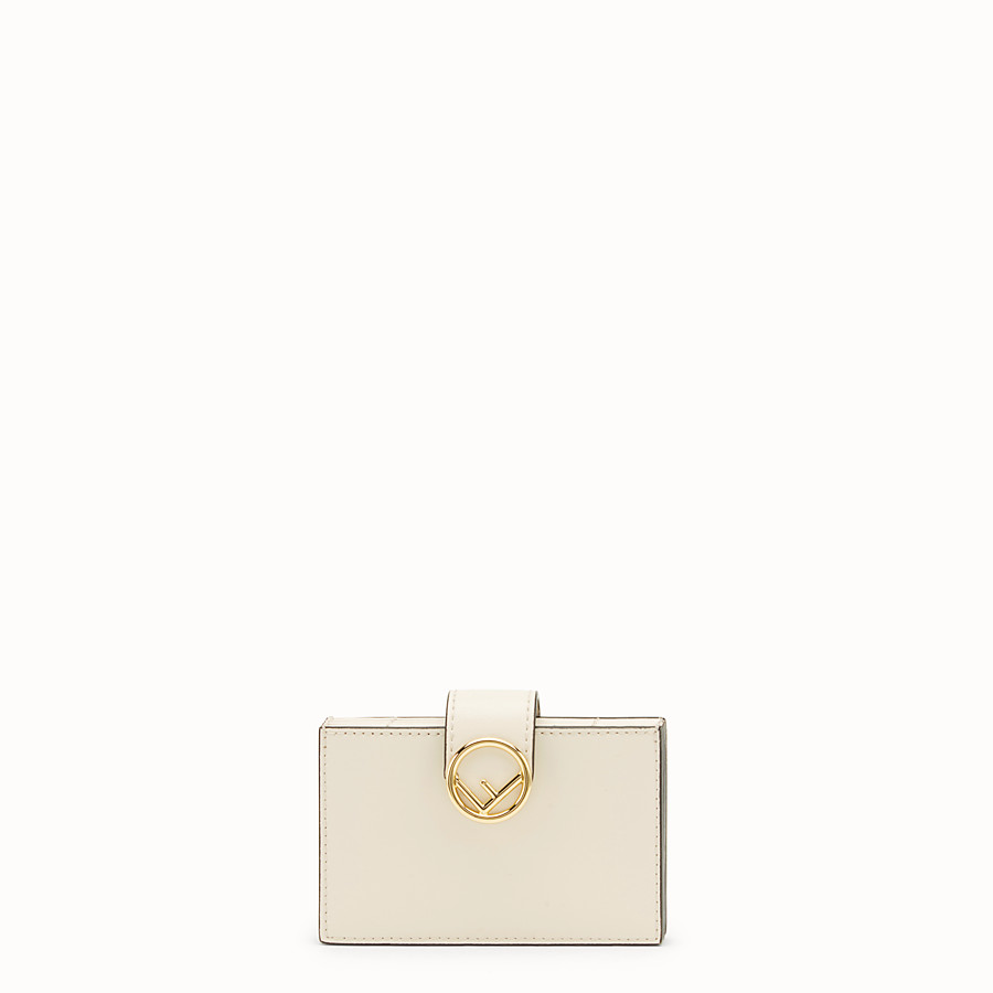 FENDI CARD HOLDER - White leather gusseted card holder - view 1 detail