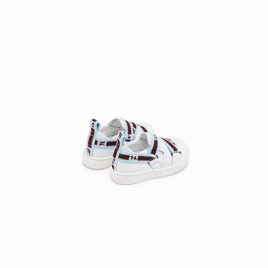 FENDI SLIP-ON - White leather first steps sneakers with multicolour ribbon - view 2 detail