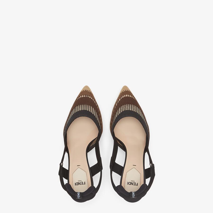 FENDI COLIBRÌ - Black micromesh high-heeled slingbacks - view 4 detail