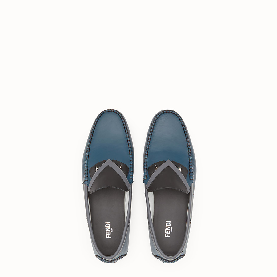 FENDI LOAFERS - Blue and grey leather drivers - view 4 detail