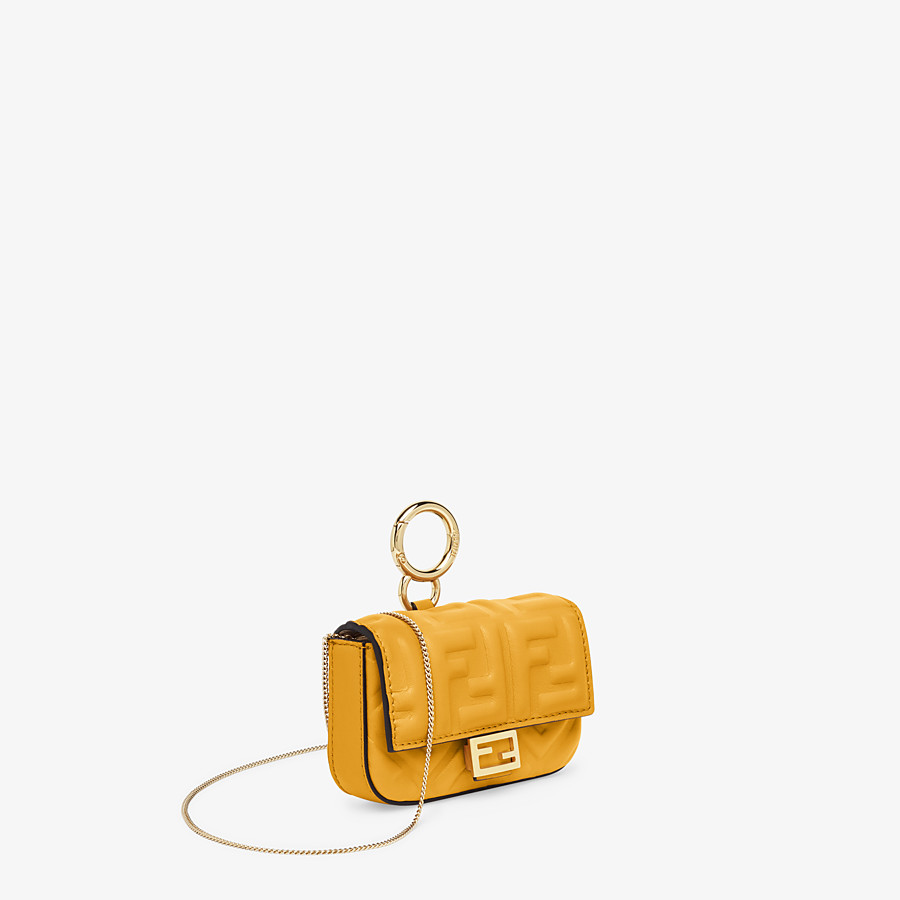 FENDI NANO BAGUETTE CHARM - Yellow nappa leather charm - view 2 detail