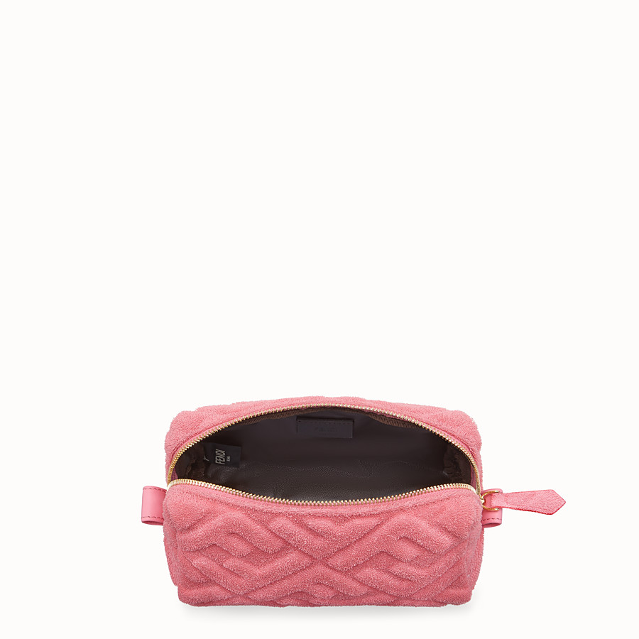 FENDI BEAUTY POUCH SMALL - Pink towelling toiletry case - view 3 detail
