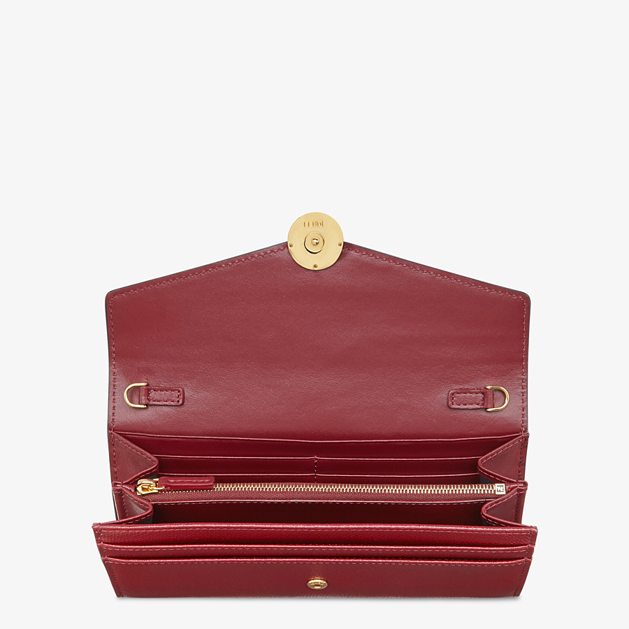 FENDI CONTINENTAL WITH CHAIN - Burgundy leather wallet - view 4 detail