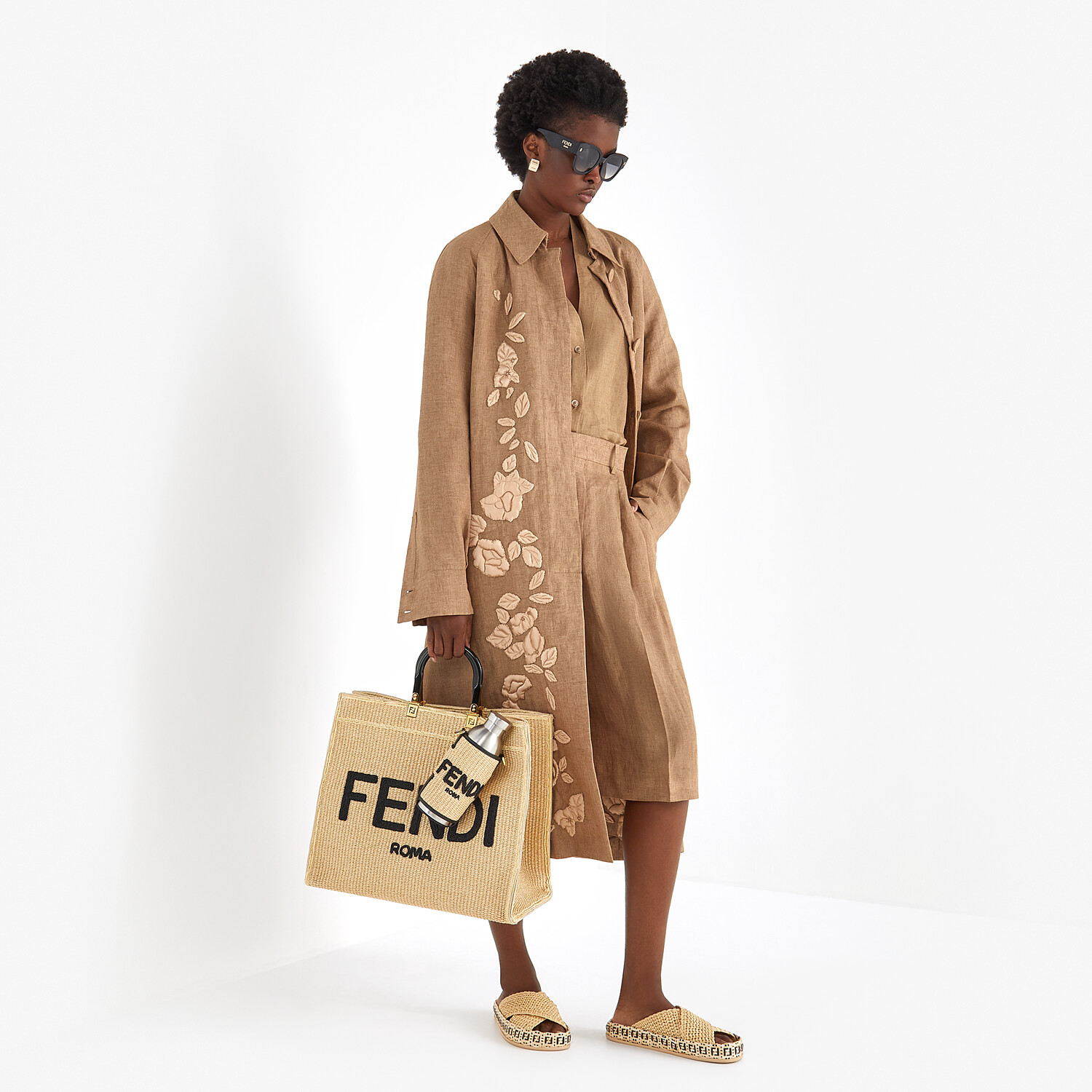 FENDI FENDI SUNSHINE LARGE - Woven straw shopper - view 2 detail