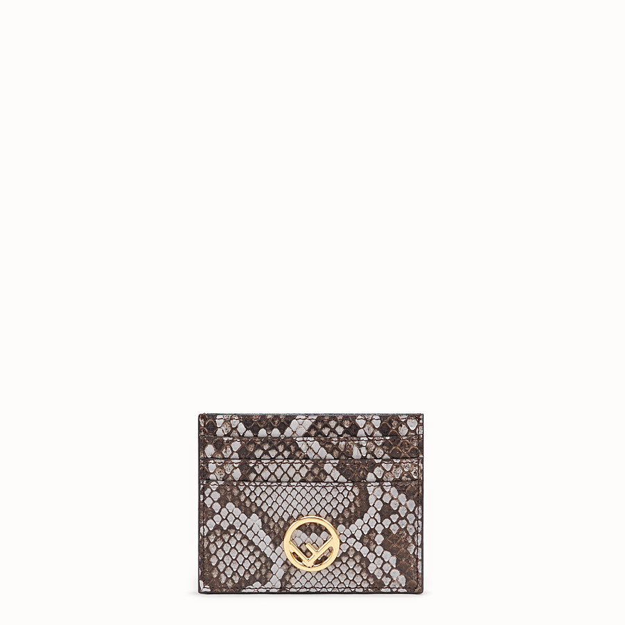 FENDI CARD HOLDER - Flat grey python card holder - view 1 detail