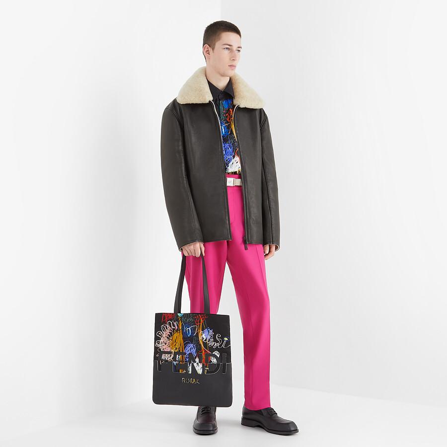 FENDI JACKET - Black leather jacket - view 5 detail