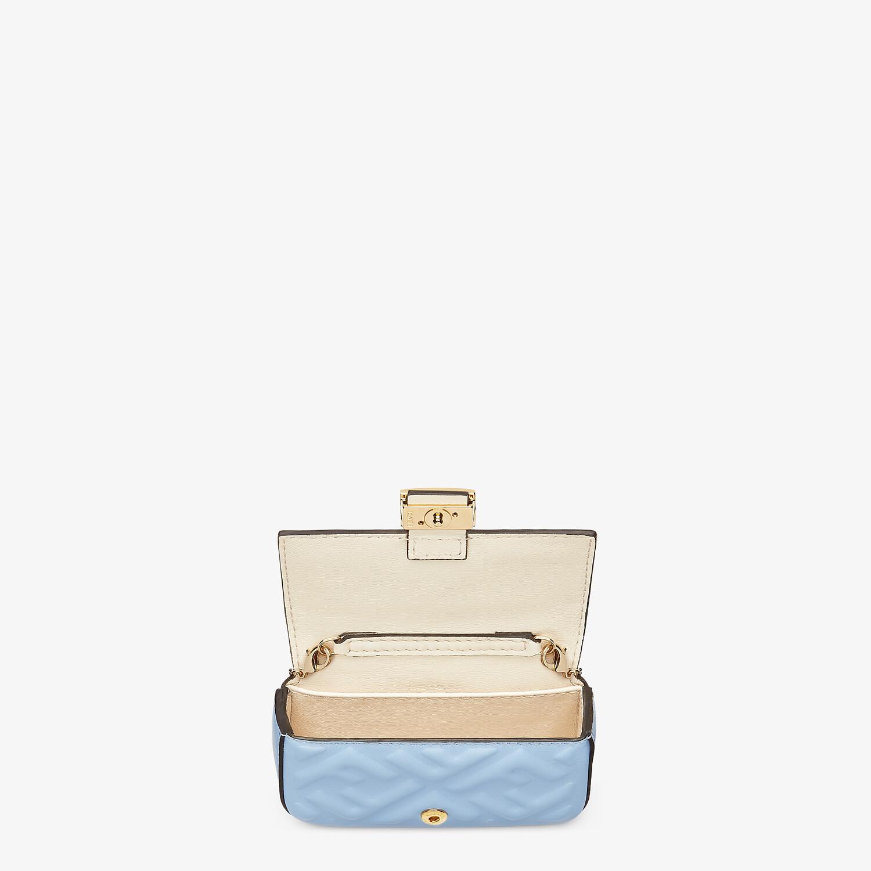 FENDI NANO BAGUETTE CHARM - Light blue nappa leather charm - view 4 detail