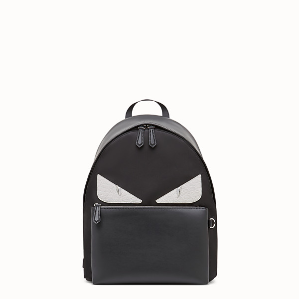 FENDI BACKPACK - Black nylon backpack with exotic leather details - view 1 small thumbnail