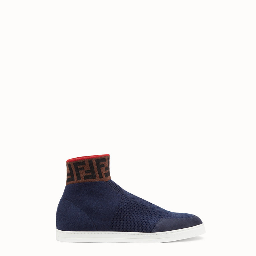 FENDI SNEAKERS - Blue wool knit high-top - view 1 detail