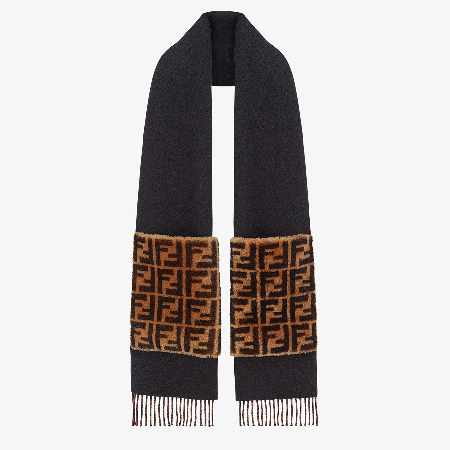 FENDI TOUCH OF FUR SCARF - Black wool and cashmere scarf - view 2 detail