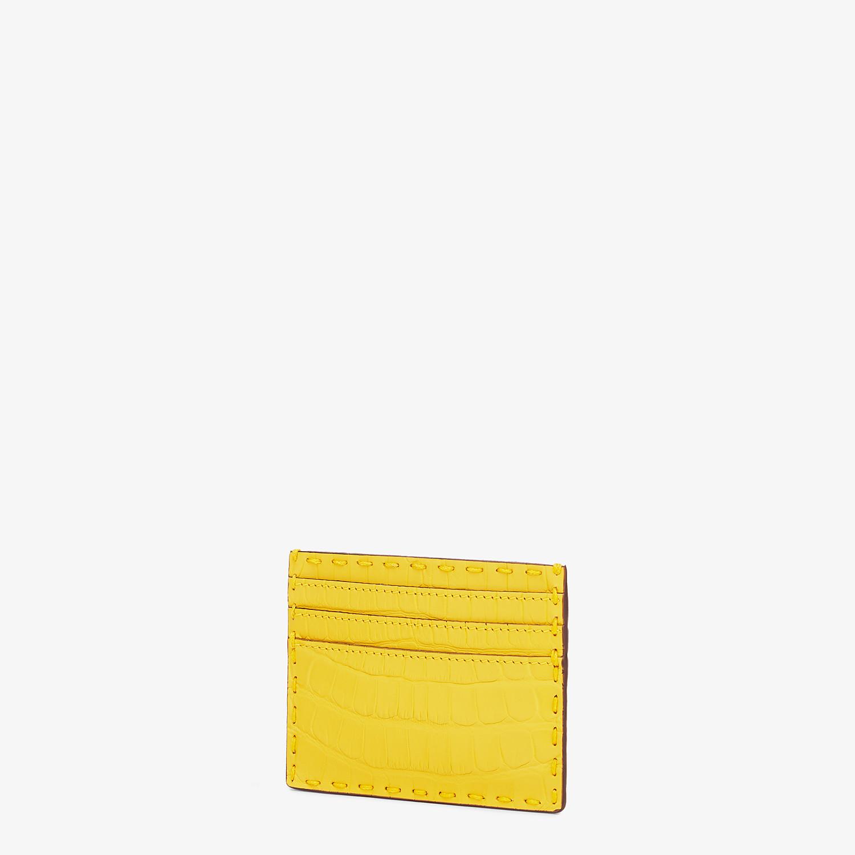 FENDI CARD HOLDER - Yellow alligator leather card holder - view 2 detail