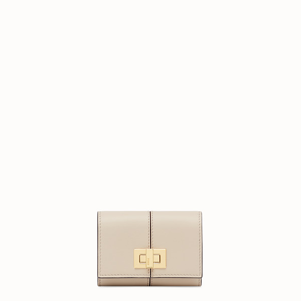 FENDI CARD HOLDER - Beige leather cardholder - view 1 small thumbnail