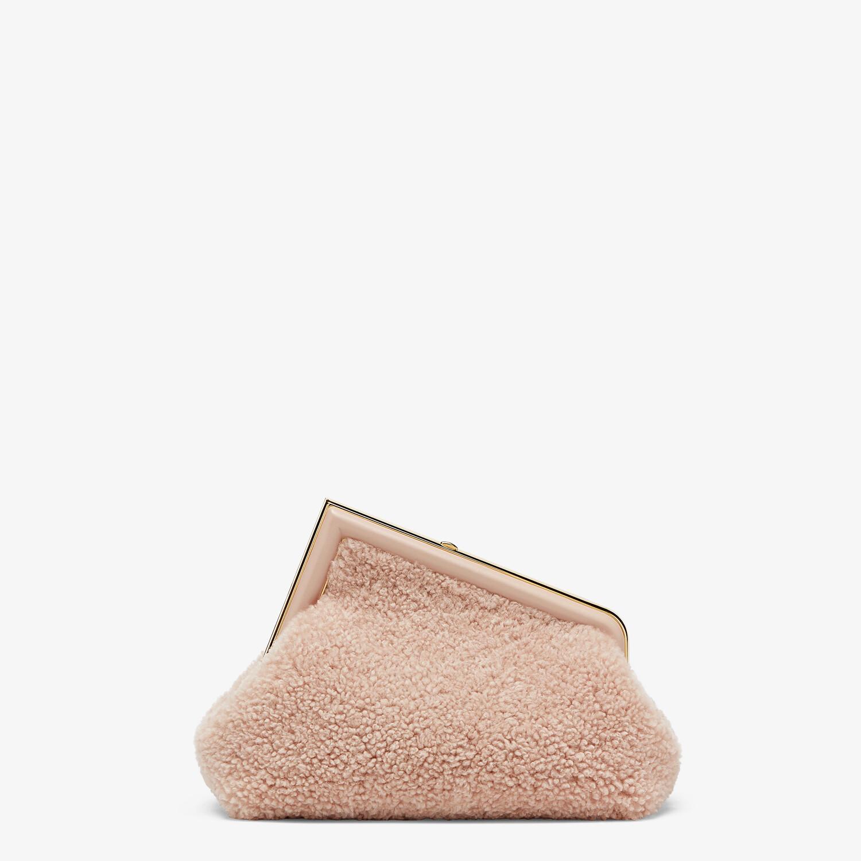 FENDI FENDI FIRST SMALL - Pink sheepskin bag - view 4 detail