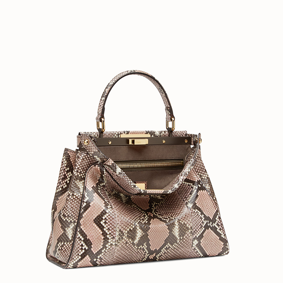 FENDI PEEKABOO REGULAR - rock-coloured python handbag - view 2 detail