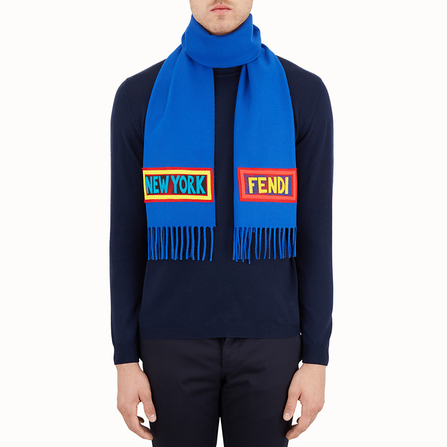 FENDI  - Blue wool scarf - view 4 detail