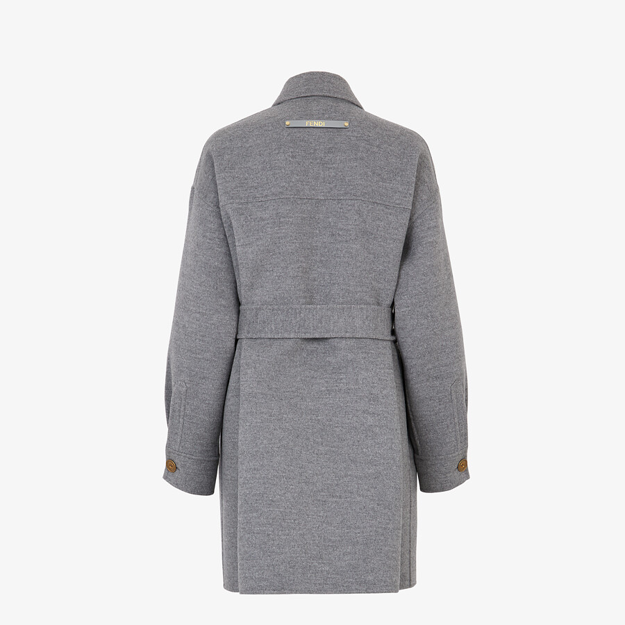 FENDI OVERCOAT - Gray wool trench coat - view 2 detail