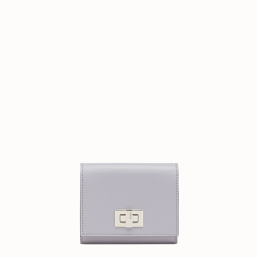 FENDI CARD HOLDER - Mini wallet in grey leather - view 1 detail