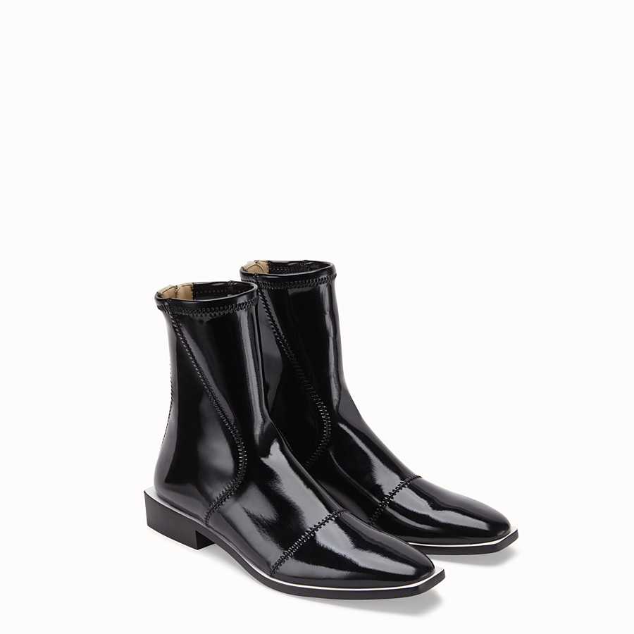 FENDI BOOTS - Glossy black neoprene low ankle boots - view 4 detail