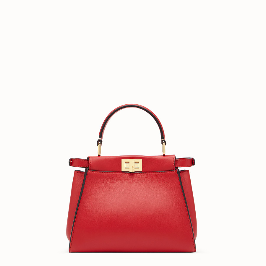 FENDI PEEKABOO ICONIC MINI - Red leather bag - view 4 detail