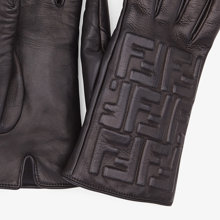 FENDI GLOVES - Gloves in black nappa leather - view 2 detail