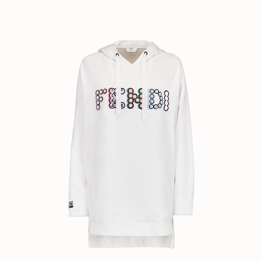 FENDI FELPA - Maxi felpa in cotone bianco - vista 1 dettaglio