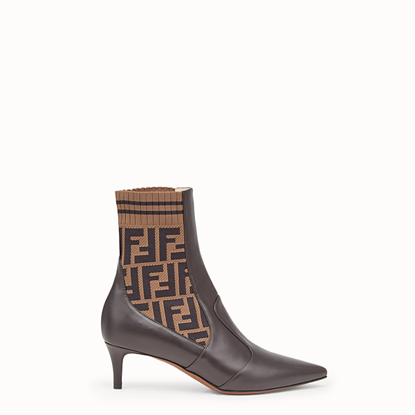 FENDI BOOTS - Brown leather booties - view 1 small thumbnail