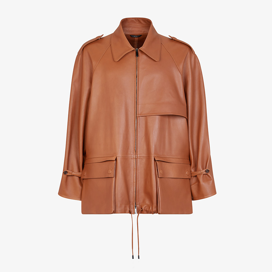 FENDI TRENCH COAT - Brown leather jacket - view 1 detail