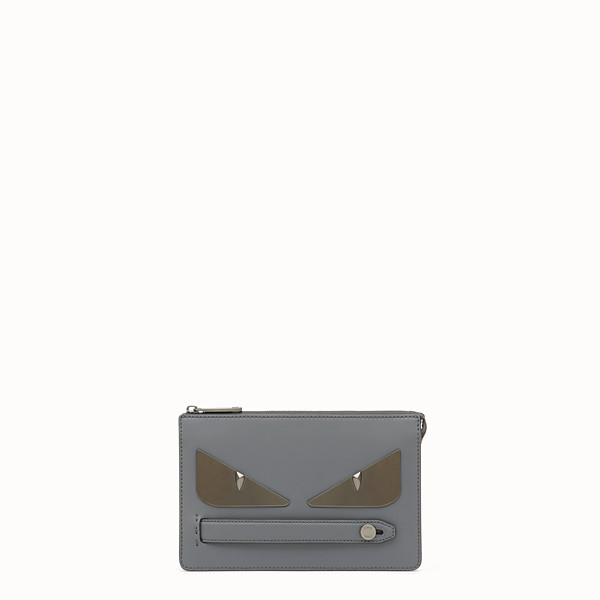 FENDI CLUTCH - Gray leather slim pouch - view 1 small thumbnail