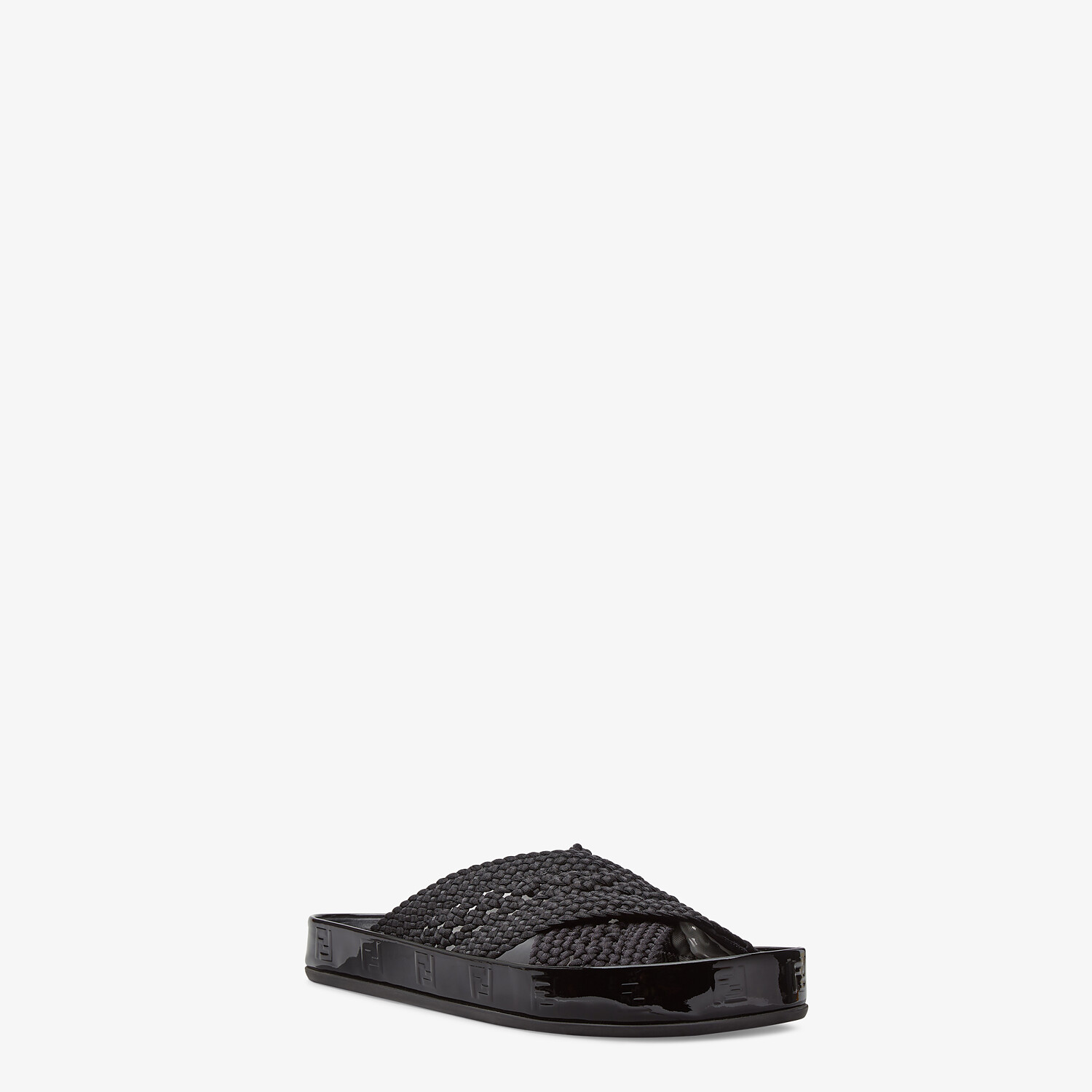 FENDI FENDI REFLECTIONS SLIDES - Black stretch lace flats - view 2 detail