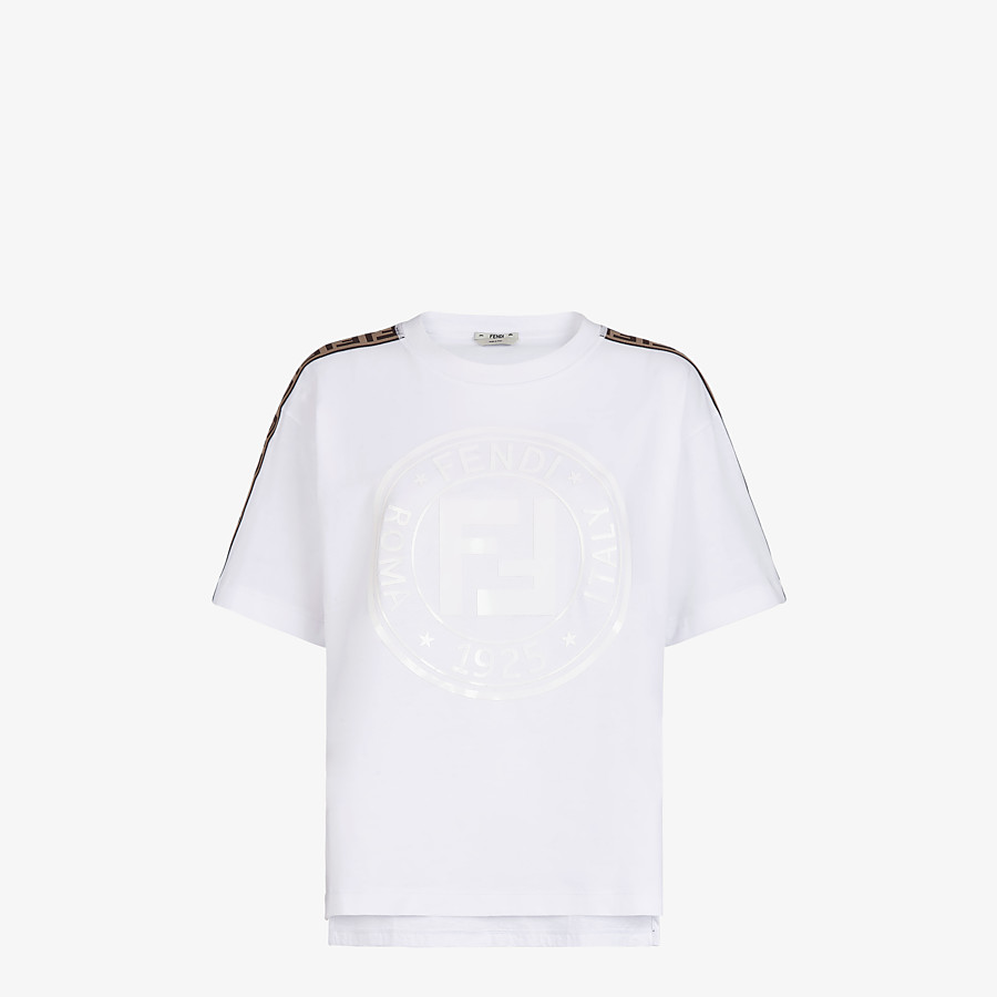 FENDI T-SHIRT - White jersey T-shirt - view 1 detail