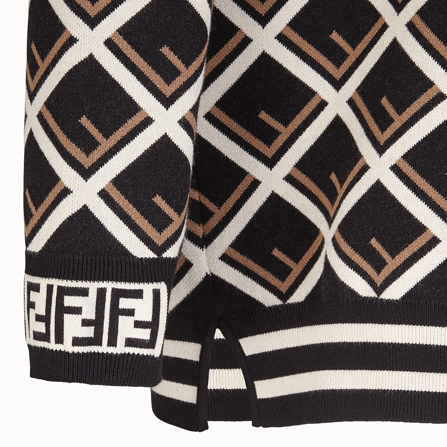 FENDI PULLOVER - Multicolour fabric turtle neck - view 3 detail