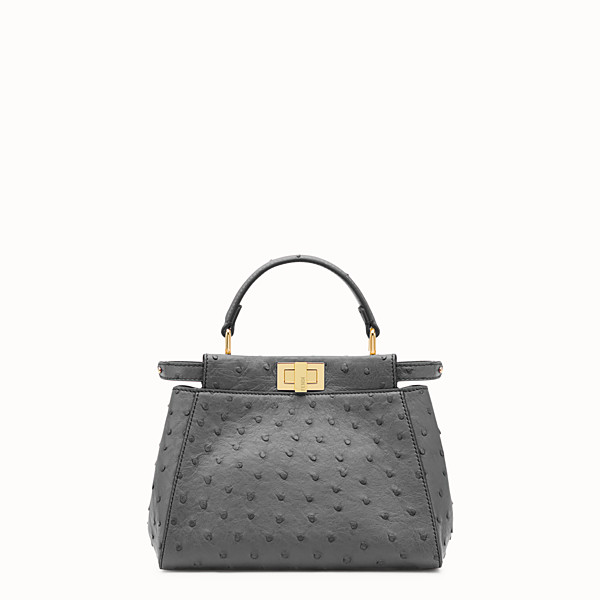FENDI PEEKABOO MINI - Grey ostrich leather handbag. - view 1 small thumbnail