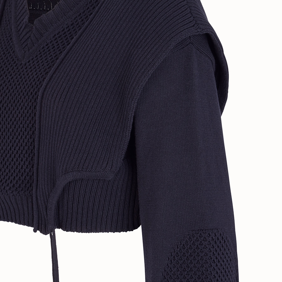 FENDI PULLOVER - Blue cotton sweater - view 3 detail