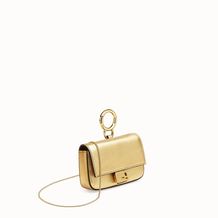 FENDI NANO BAGUETTE - Charm in golden leather - view 3 detail