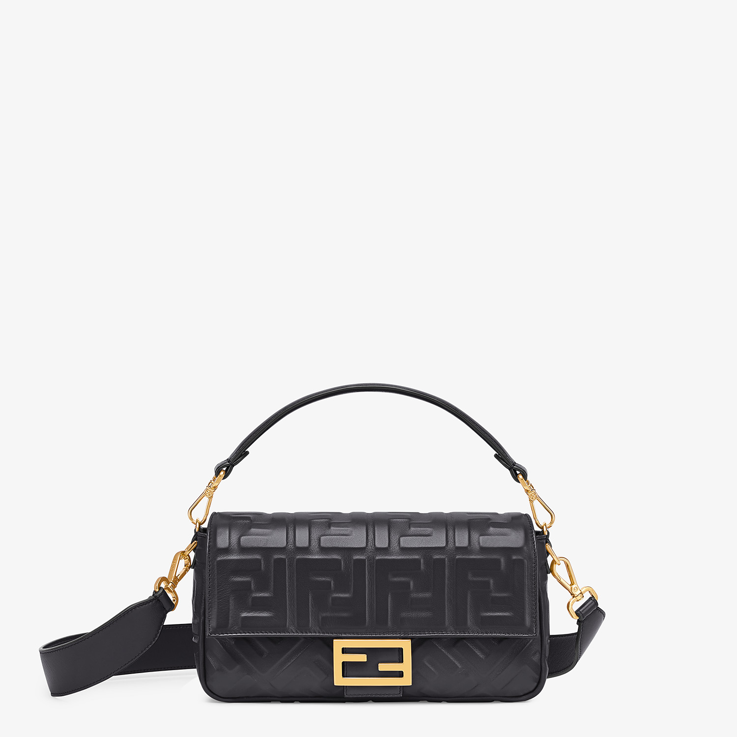 FENDI BAGUETTE - Black leather bag - view 1 detail