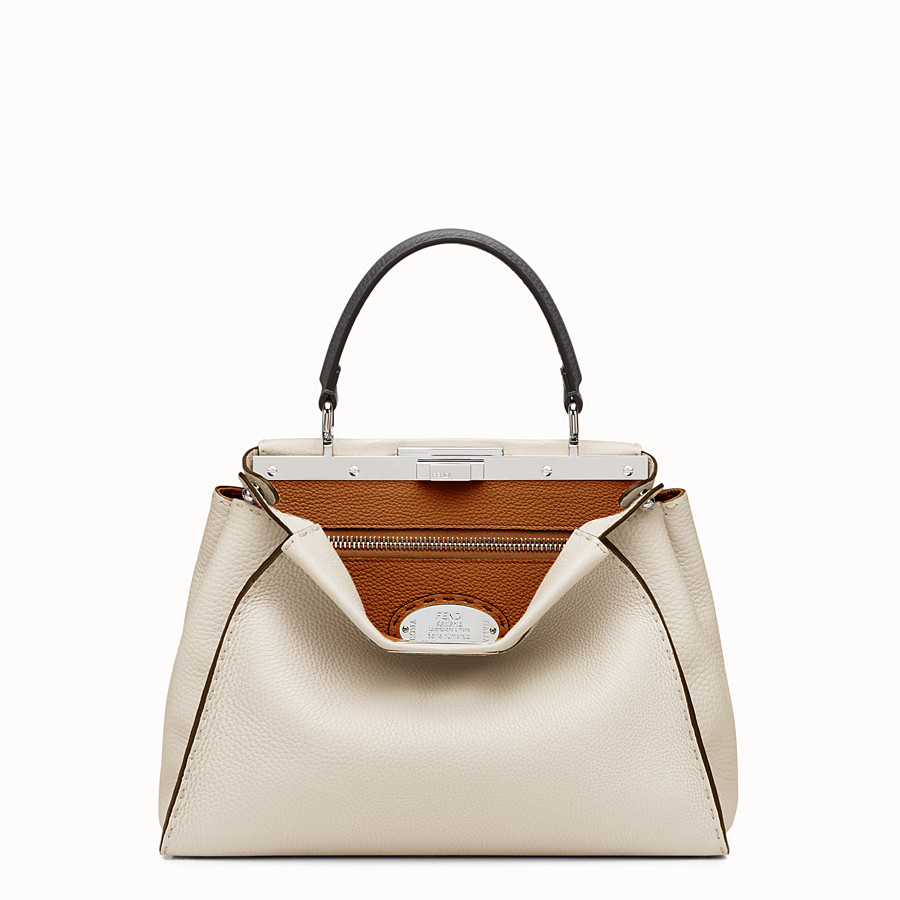 FENDI SELLERIA PEEKABOO - white Roman leather handbag - view 1 detail