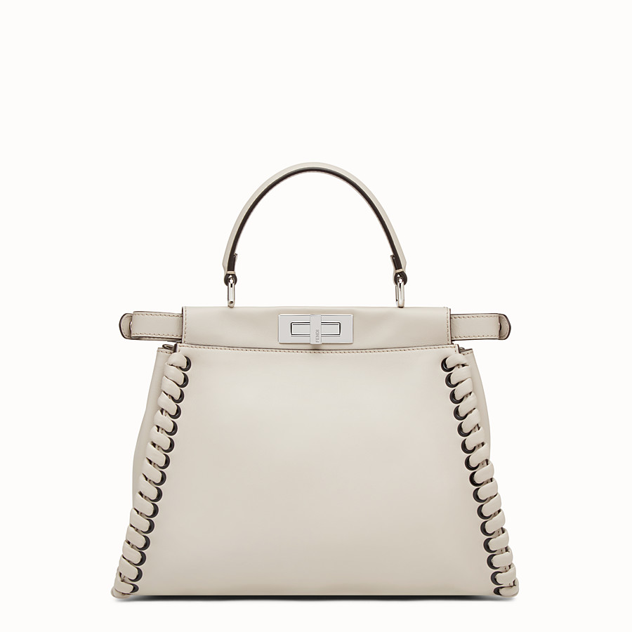 FENDI PEEKABOO REGULAR - Grey leather handbag with weave - view 3 detail