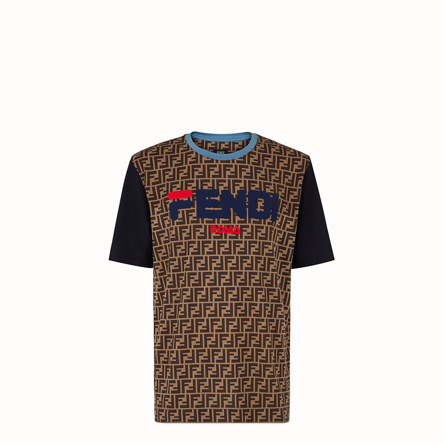 FENDI T-SHIRT - Multicoloured cotton jersey T-shirt. - view 1 detail