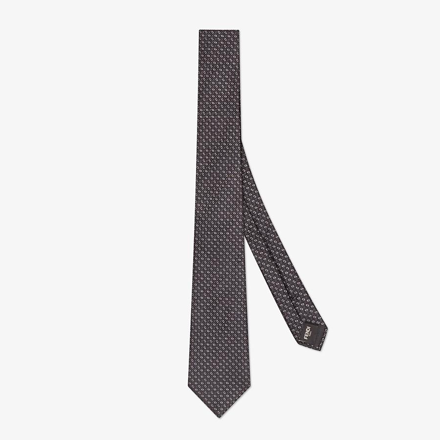 FENDI TIE - Gray silk necktie - view 1 detail