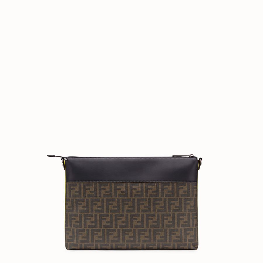 FENDI MESSENGER - Brown fabric pochette - view 3 detail