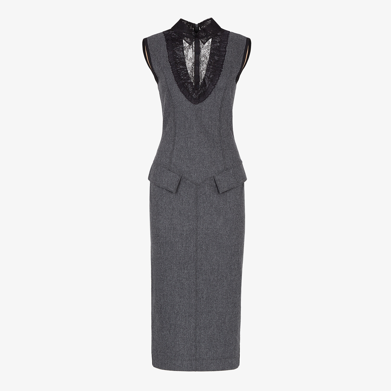 FENDI DRESS - Gray cashmere dress - view 1 detail