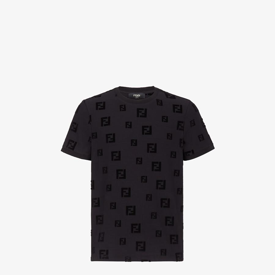 FENDI T-SHIRT - Black chenille T-shirt - view 1 detail