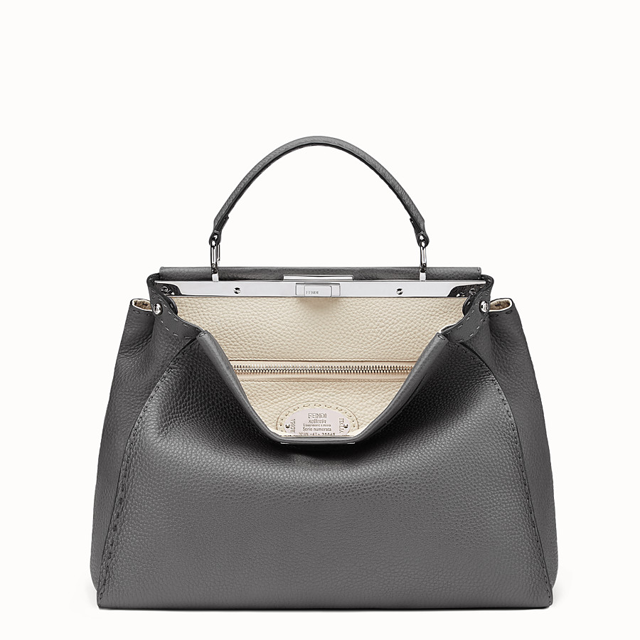 FENDI PEEKABOO ICONIC LARGE - Grey leather handbag - view 1 detail