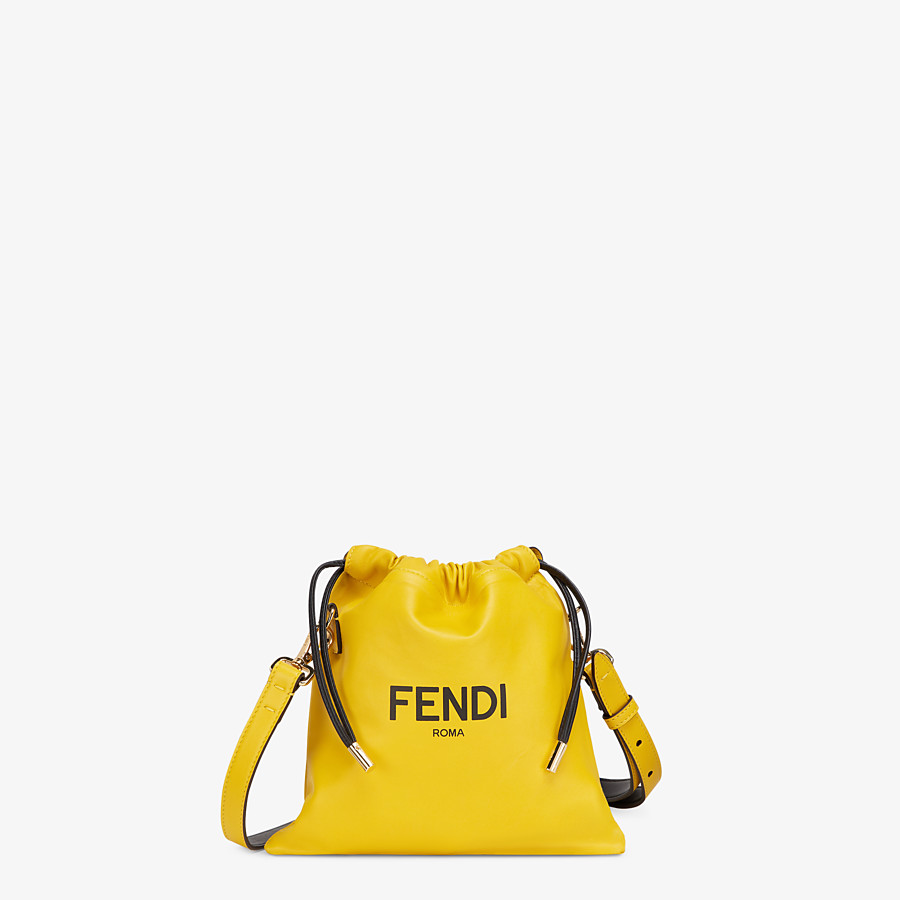 FENDI FENDI PACK SMALL POUCH - Yellow nappa leather bag - view 1 detail