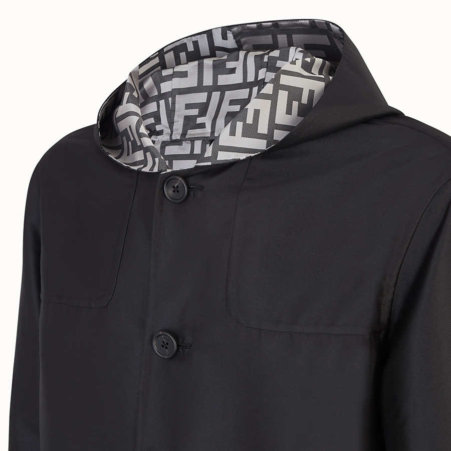 FENDI DUFFEL COAT - Black nylon coat - view 3 detail