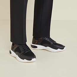 FENDI SNEAKERS - Black tech mesh and leather low-tops - view 5 thumbnail