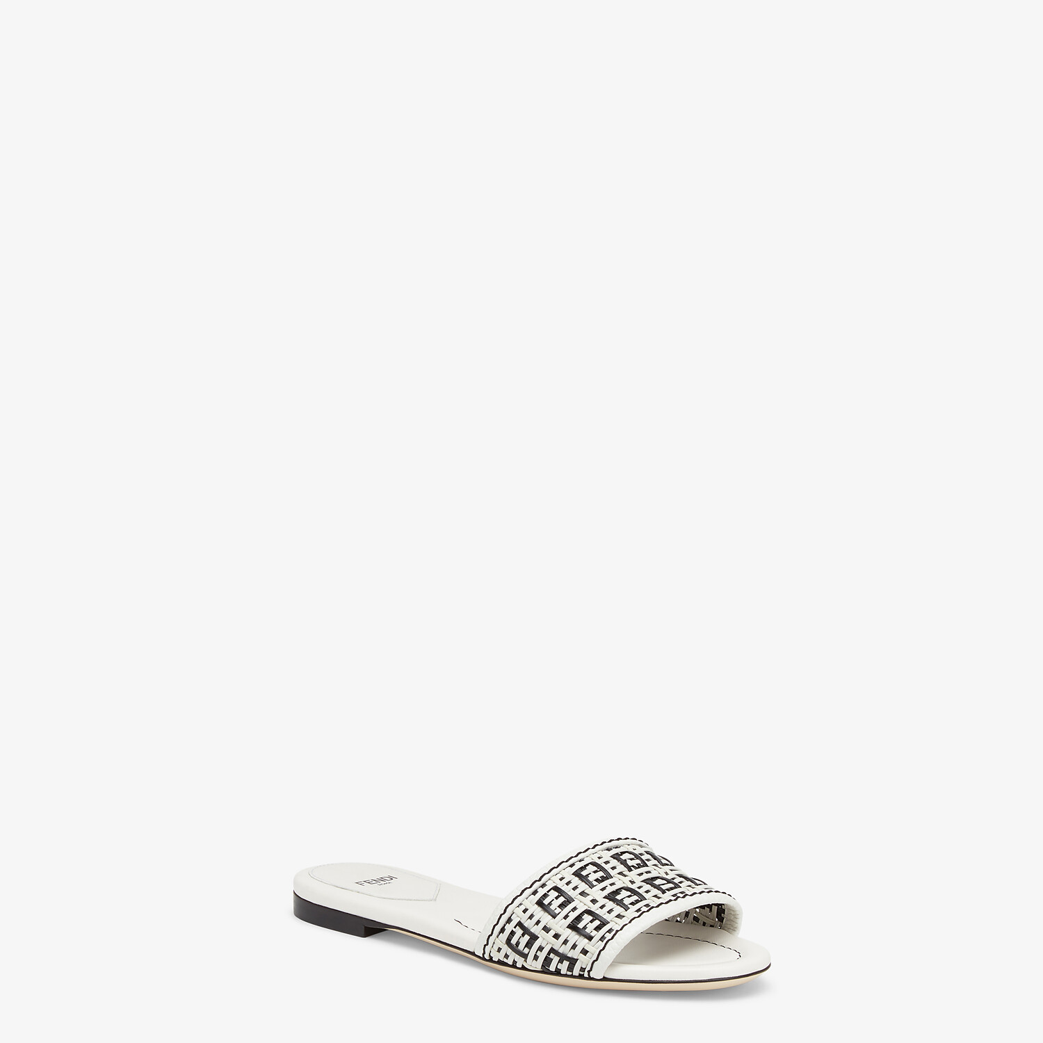 FENDI FF INTERLACE SLIDES - White leather slides - view 2 detail